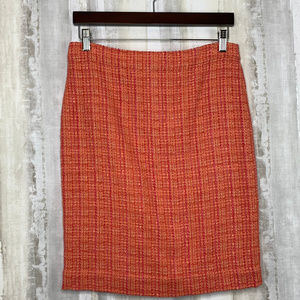 J. CREW No. 2 Pencil Skirt Neon Tweed Orange Pink
